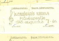 Három belépőjegy 1945 nyaráról a pockingi magyar tábori színház rendezvényeiről (Benkő Lajos hagyatékából)